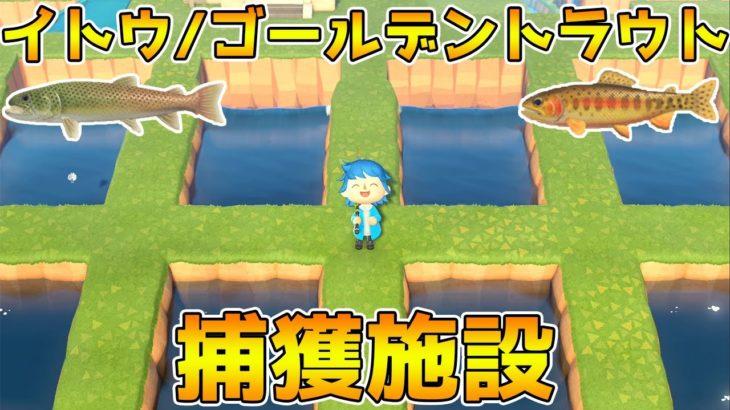 【あつ森】レア魚が取りやすくなる!ゴールデントラウト捕獲施設を作成!【あつまれどうぶつの森】