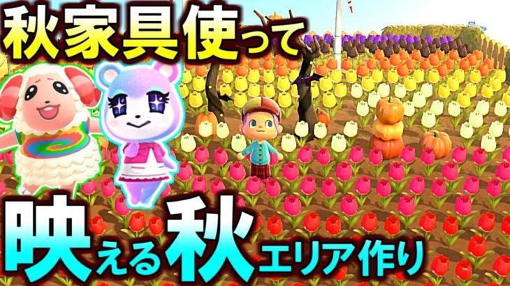 (あつ森)キノコ&木の実家具で映える秋エリア作るぞ!その138(あつまれどうぶつの森)