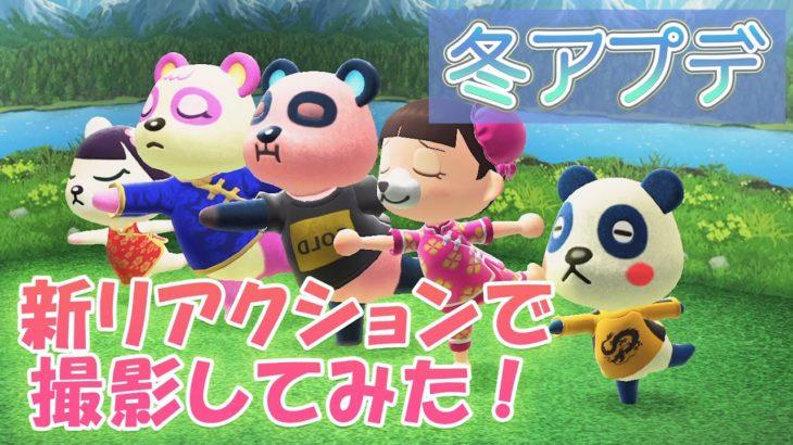 【あつ森】冬アプデ!!追加リアクションがかわいすぎる!全リアクションをパンダ家族と撮影しました!