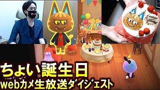 (あつ森)「乾杯前にケーキ食べちゃった!ごめんちょいぃ!」主役より先にケーキ食べてテンパるスナザメ(誕生日webカメ放送ダイジェスト)(あつまれどうぶつの森)