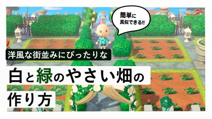 【あつ森】アプデに向けて島クリ!洋風の街並みにぴったりな「白と緑の野菜畑」の作り方!おしゃれな畑のコツを徹底解説するよ かぼちゃやトマト等作物を育てるスペースを準備しよう【あつ森direct 島作り】